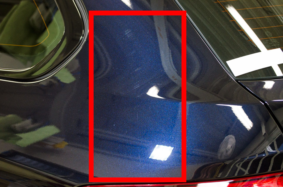 BMW 528i f10の研磨前の状態。磨かれた跡がくっきりと残っている