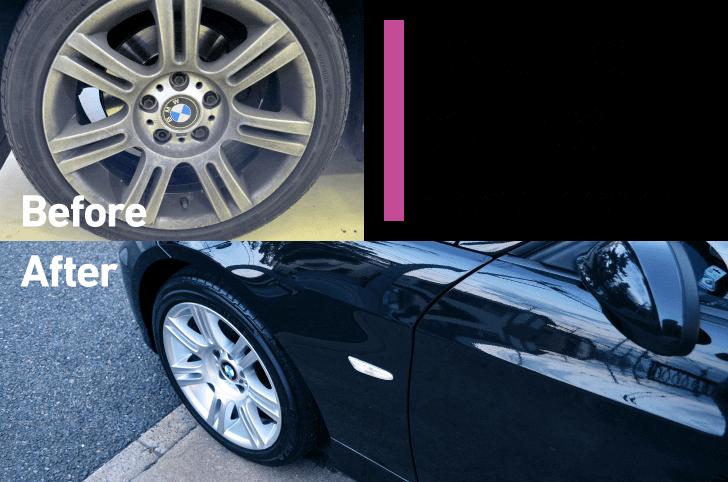 BMW E90にホイールコーティングを施工した時のBefore,After