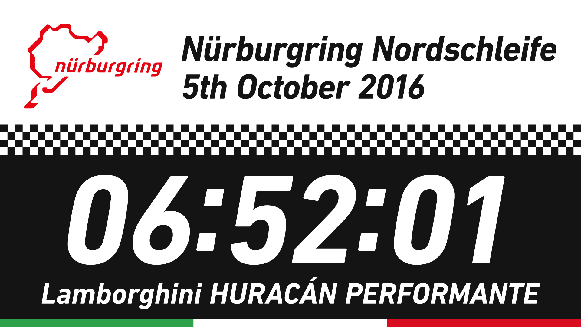 Nürburgring Nordschleife 5 October 2016 6:52:01 Lamborghini HURACÁN PERFORMANTE