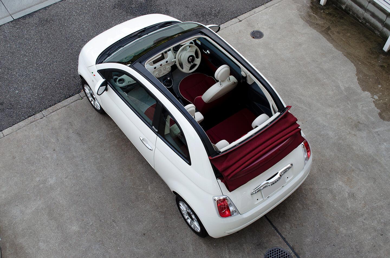 CARHEART 神戸の代車のFIAT500C 。GENESIS STELLA ガラスコーティング、幌コーティングなど施工済み