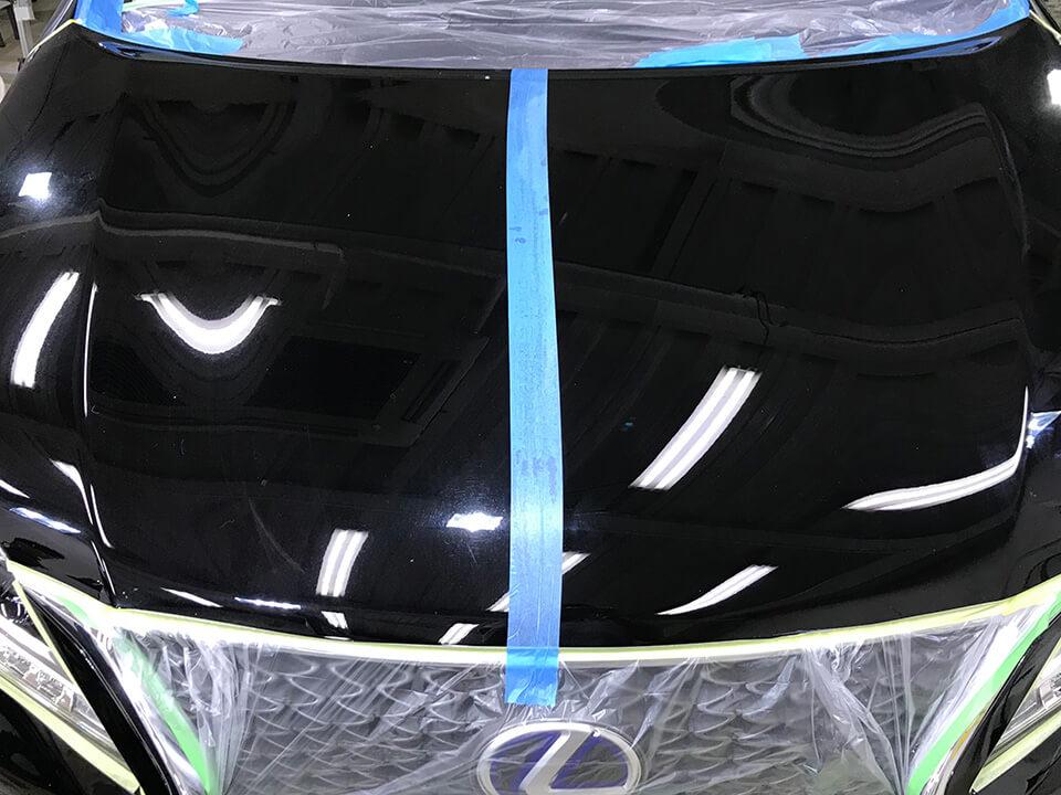 コーティングの研磨のビフォーアフター(LEXUS 3代目 RX450hのボンネット)