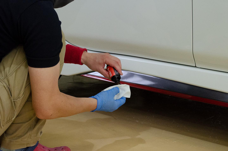 日産リーフ NISMOにKUBEBOND DIAMOND9H ナノセラミックコーティングを塗布しているところ