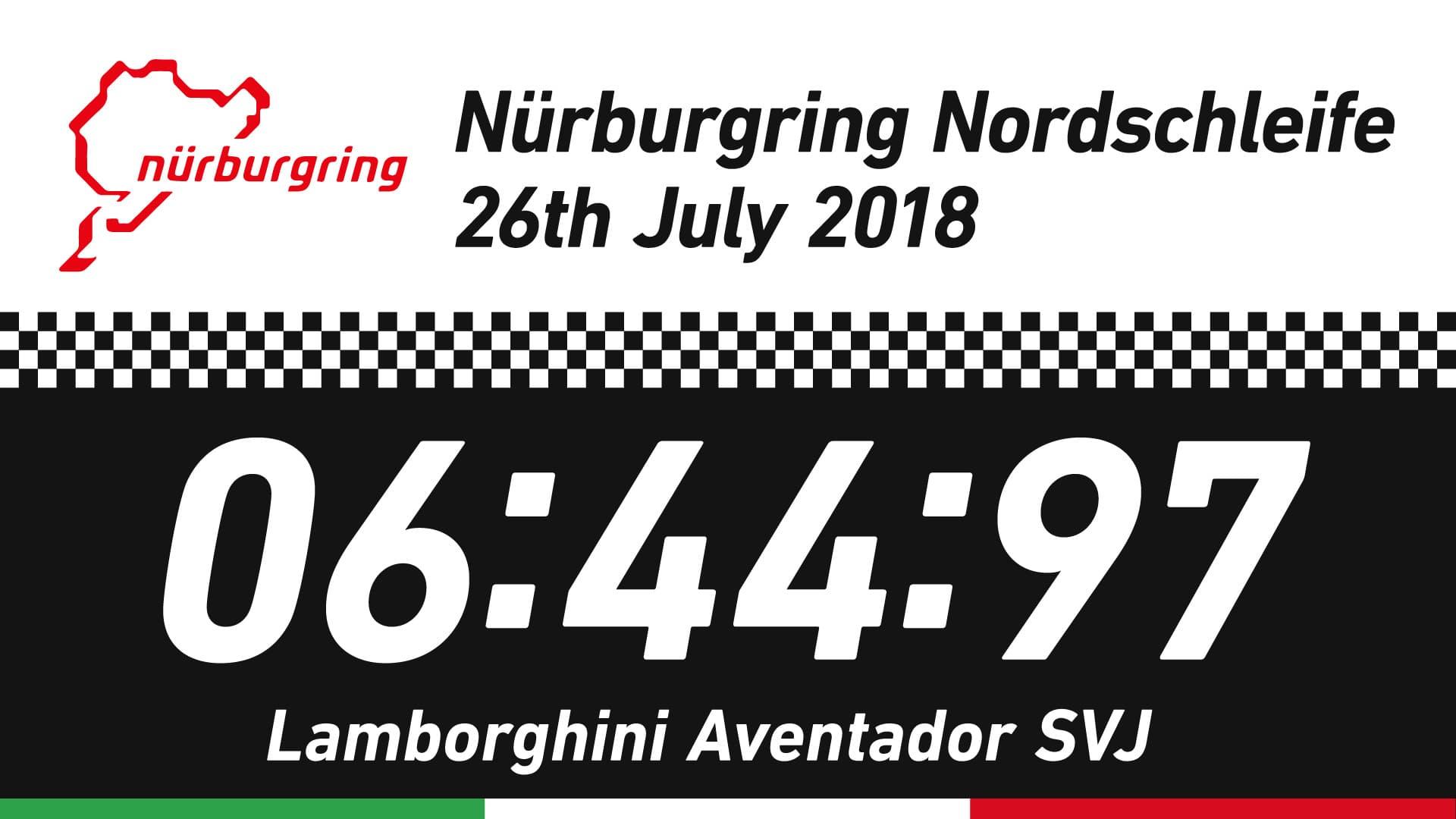 Lamborghini Aventador SVJがニュルブルクリンクで記録したタイムレコード06:44:97