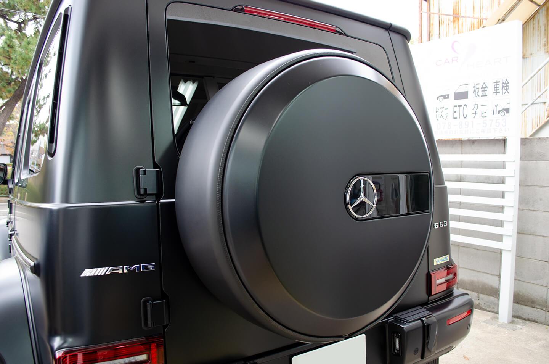 ラッピングを施工したメルセデスAMG G63 Edition Matt Black (W463)のタイヤカバー