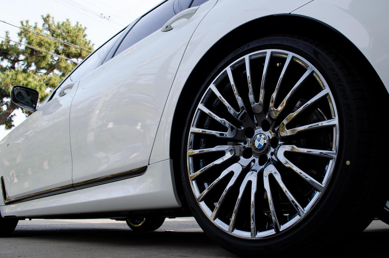 コーティングを施工した BMW G11 750i の ホイール
