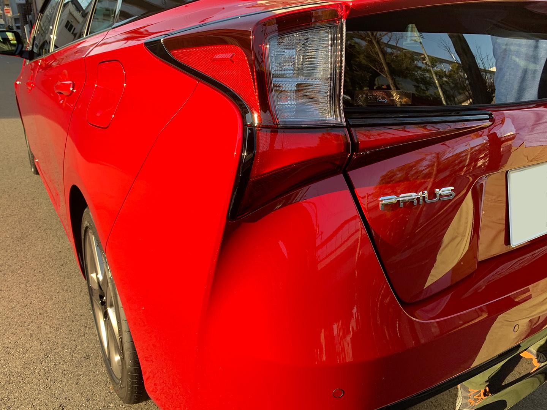 コーティングを施工したトヨタ プリウス ZVW51 エモーショナルレッドⅡ〈3U5〉