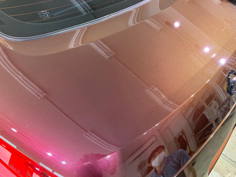コーティングを施工したフェアレディZ Z33 プレミアムミスティックマルーンのトランク