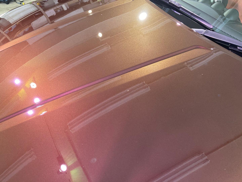 コーティング前のフェアレディZ Z33 プレミアムミスティックマルーンのボンネット