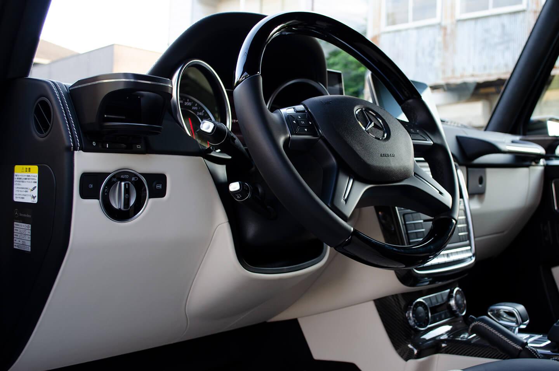 コーティングを施工したメルセデス AMG G63 マットブラックのステアリング