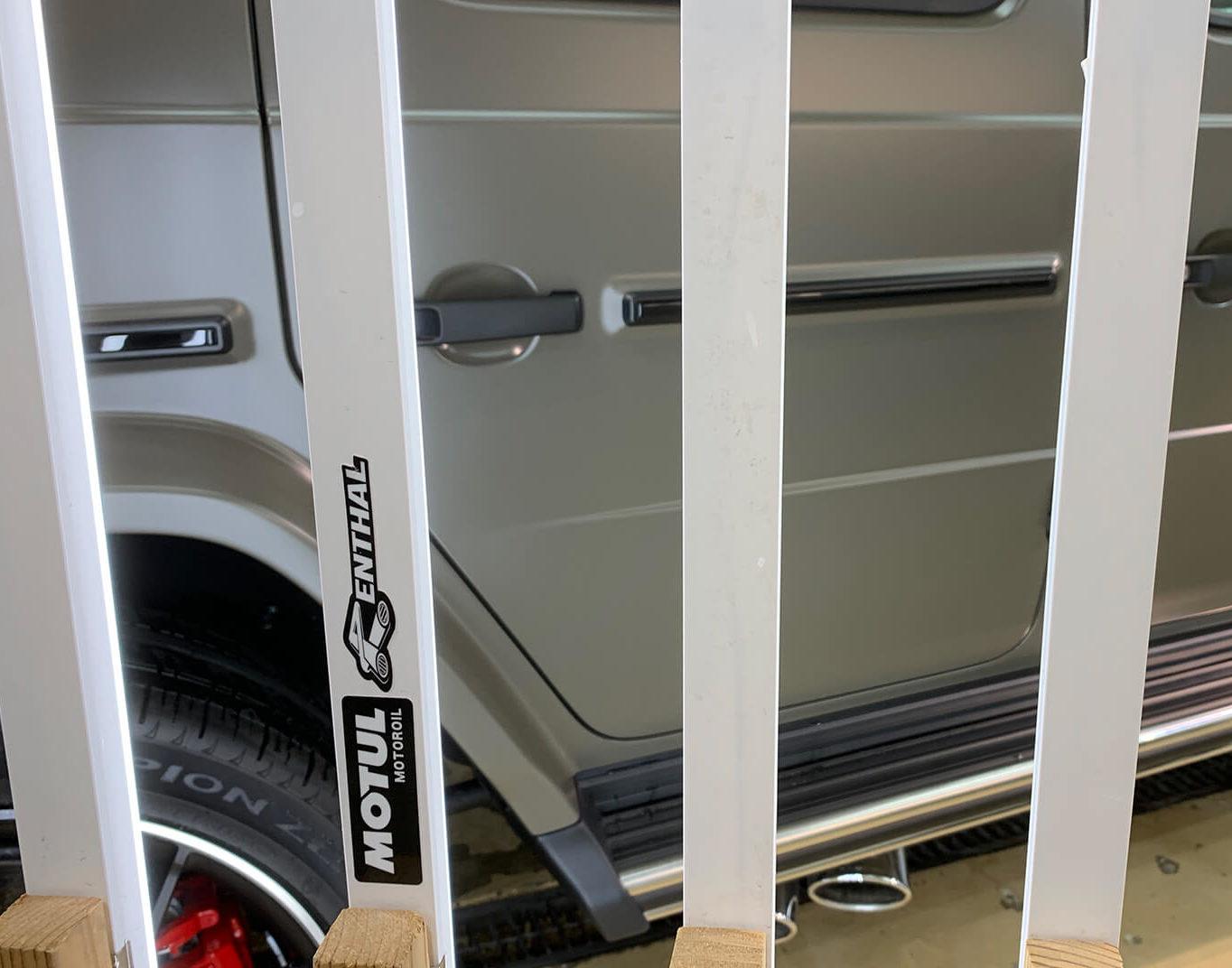 Mercedes-AMG G63 manufaktur Edition のコーティングを施工しているところ