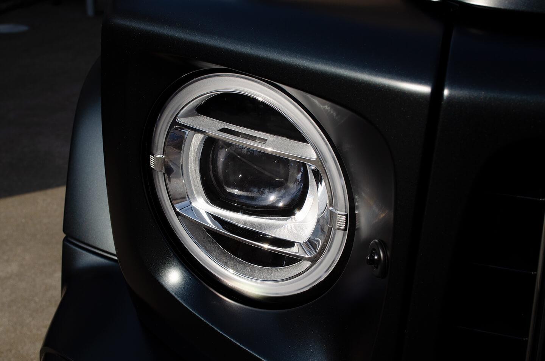 プロテクションフィルムを施工したMercedes-AMG G63 マグノナイトブラックのヘッドライト